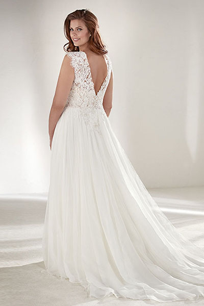 Strapless Tulle Over Lace Plus Size Wedding Dress | Bycouturier