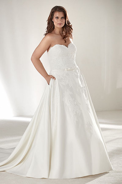 Allover Beaded Plus Size Ball Gown Wedding Dress | Bycouturier