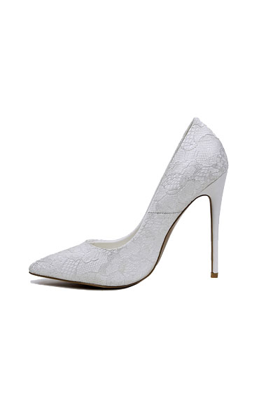 White Lace Wedding Shoes Fine High Heels | Bycouturier