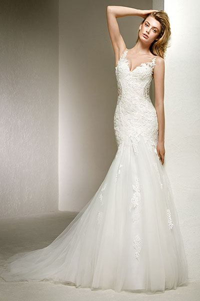 All over lace beaded trumpet wedding dress bycouturier item has been added to cart junglespirit Image collections