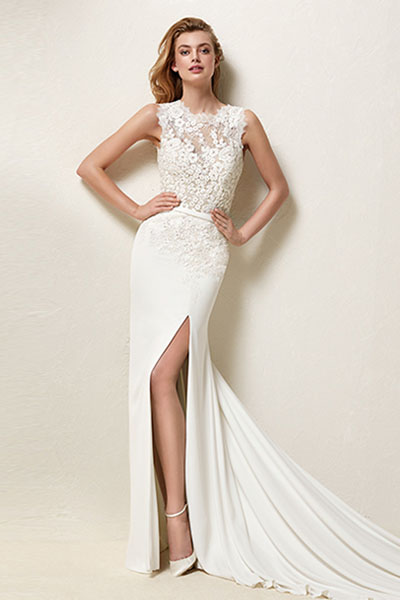 Lace Wedding Dress with High Neck | Bycouturier