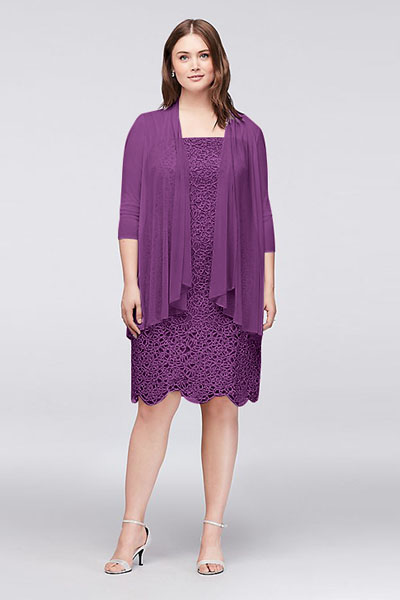 1d5f23b339240 name Petite Plus Size Metallic Lace Dress with Jacket