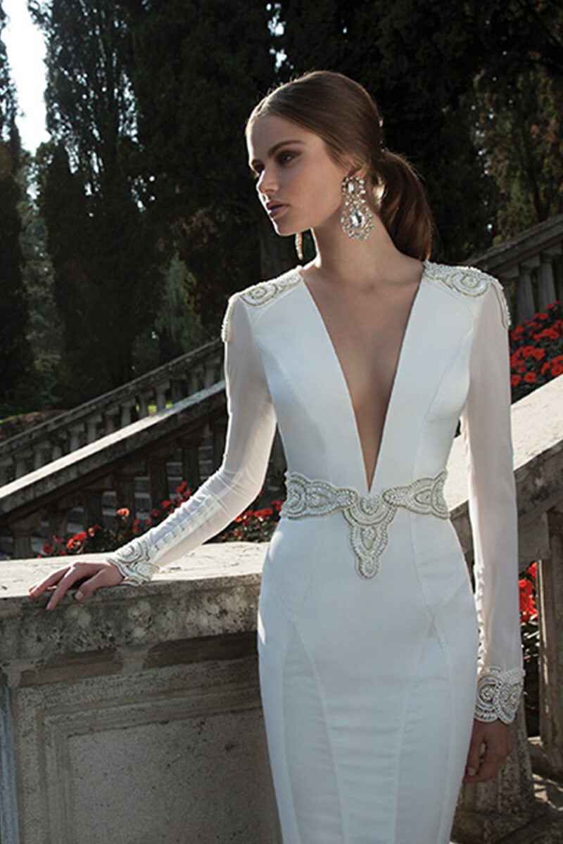 V-Neck Long-Sleeve Embroidered Sheath Wedding Dress   Bycouturier