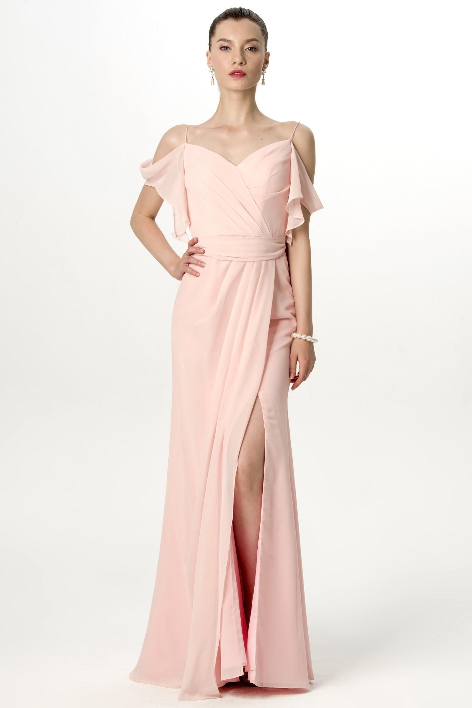 Off-Shoulder Slit-Hem Bridesmaid Dress | Bycouturier
