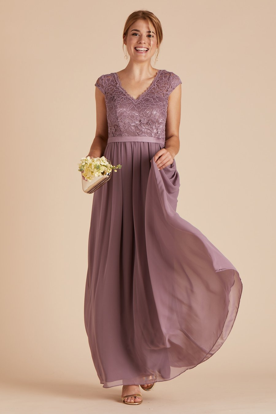 744d24f64d25 V-Neck Cap-Sleeved Bridesmaid Dress | Bycouturier