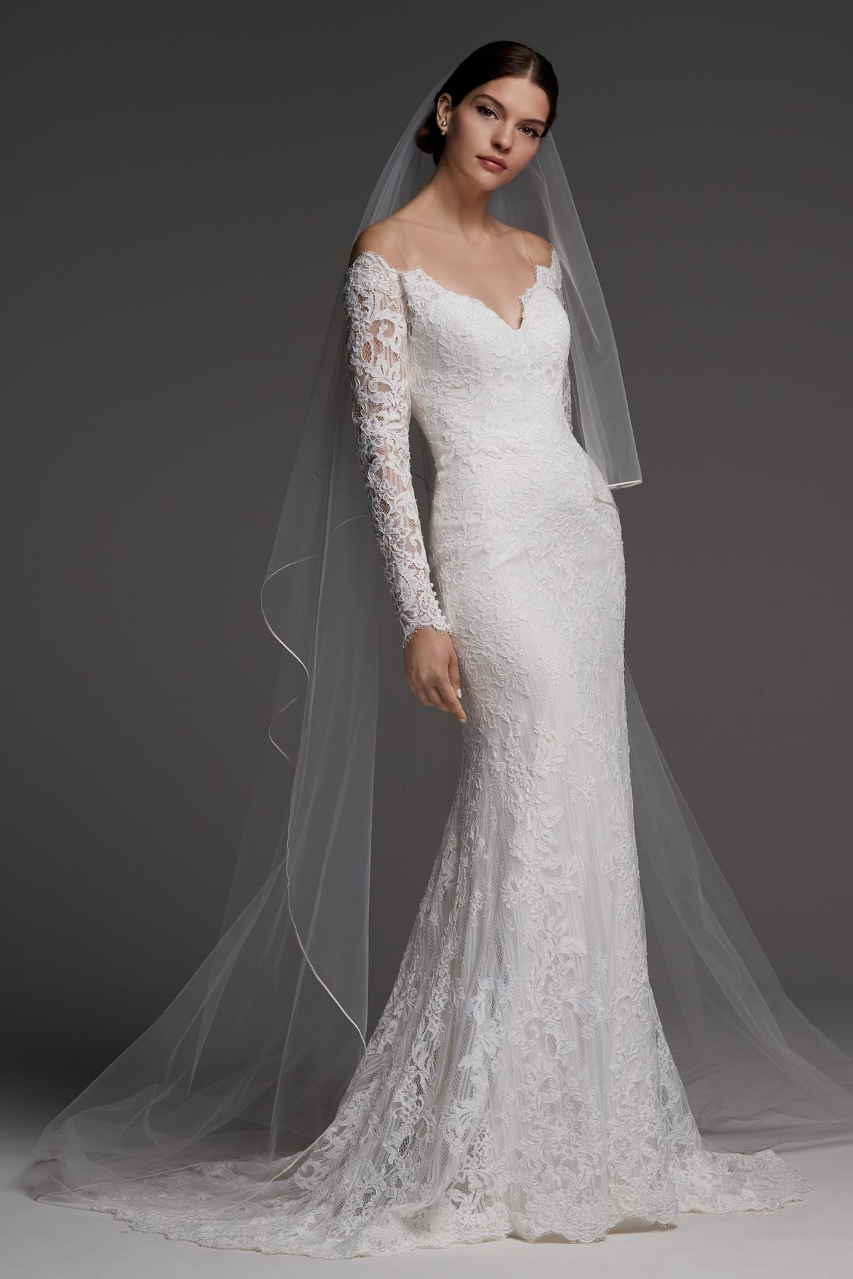 Lace Long-sleeved Off-Shoulder Bridal Dress | Bycouturier