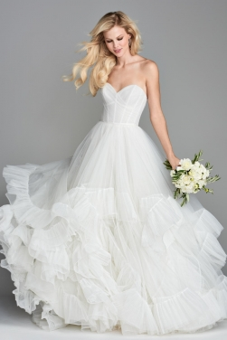 Strapless Floral Hem Bridal Dress