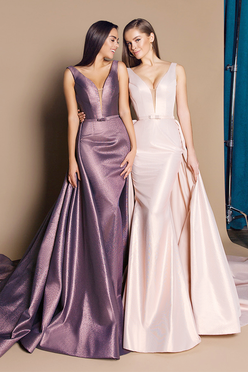 55e11bb72130 Ball-Gown V-neck Floor-Length Satin Prom Dress