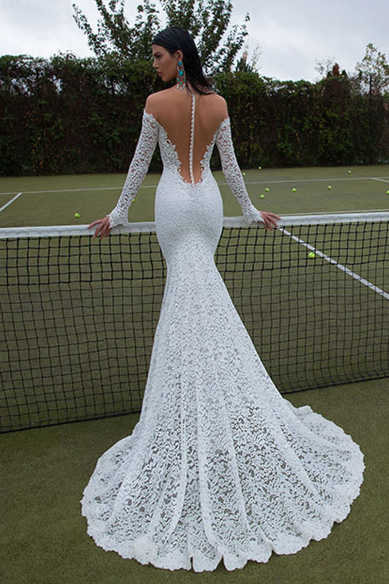 Off-Shoulder Embroidered Wedding Dress   Bycouturier