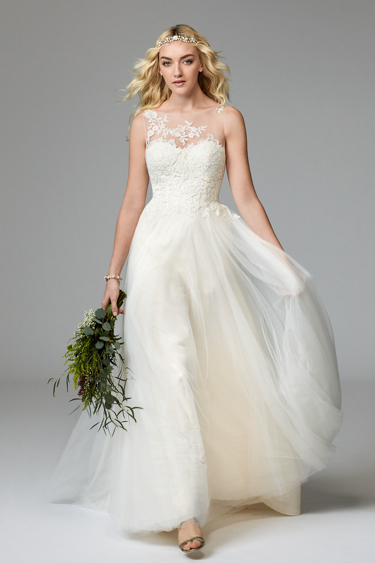 See-through Strap Lace Backless Wedding Dress | Bycouturier