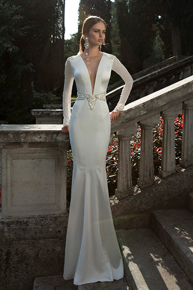 V-Neck Long-Sleeve Embroidered Sheath Wedding Dress | Bycouturier