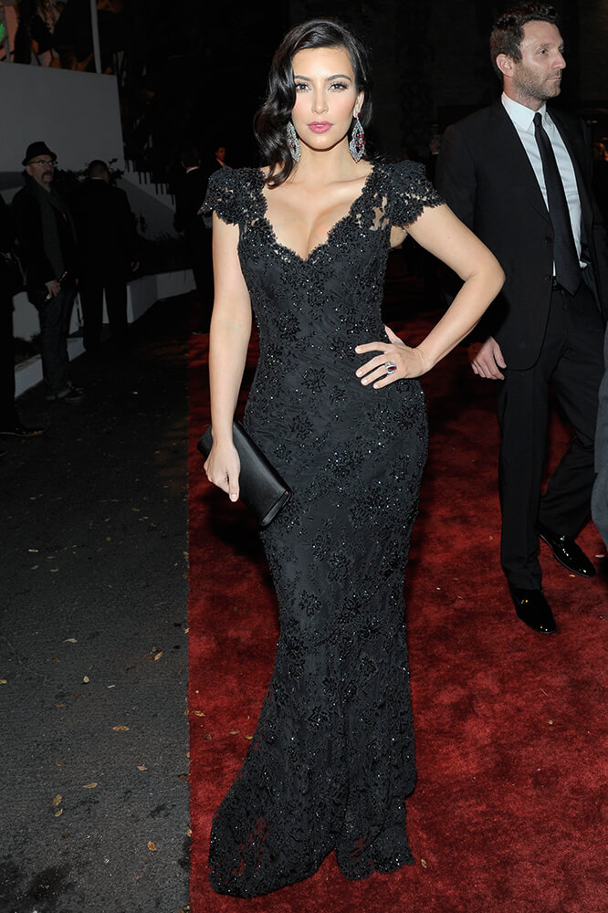 Kim Kardashian 2012 Golden Globes After Party Black Lace