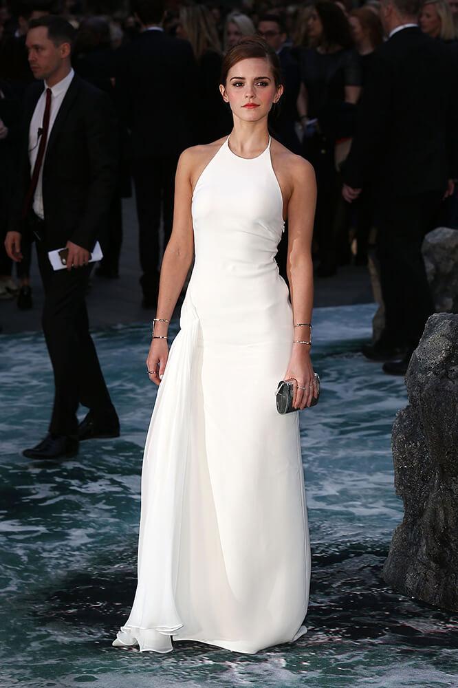 Emma Watson White Halter Prom Dress Evening Gown Noah premiere ...