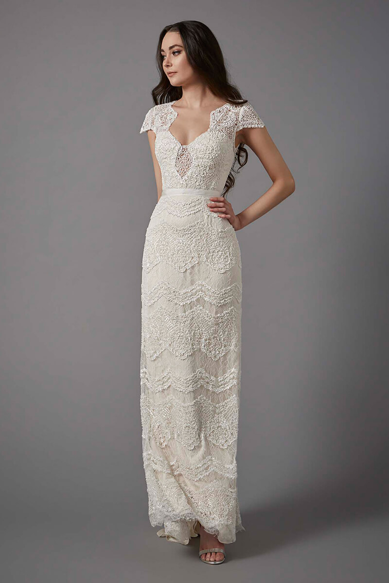 cap sleeves with back detail sheath wedding gown | Bycouturier
