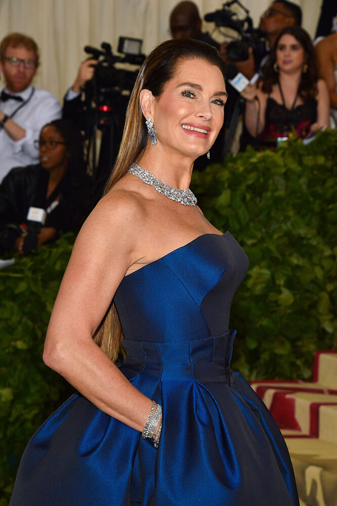 df26a6ea6373 name Brooke Shields strapless satin evening dress Met Gala 2018