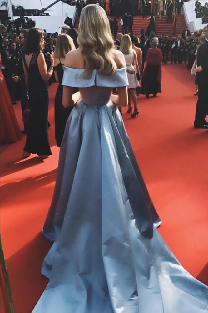 89bbe9b91b49 ... Elsa Hosk Light Sky Blue Off-the-shoulder High Slit Ball Gown 2017  Cannes