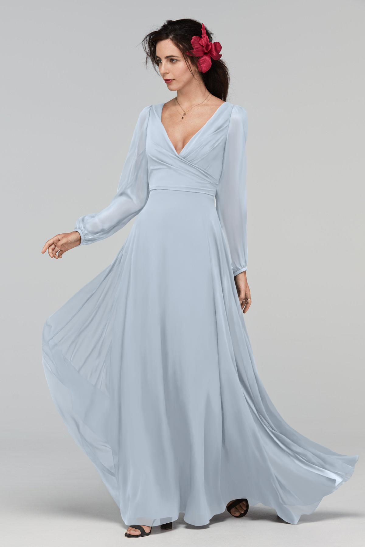 Long Sleeves V-Neck Chiffon A-Line Bridesmaid Dress | Bycouturier