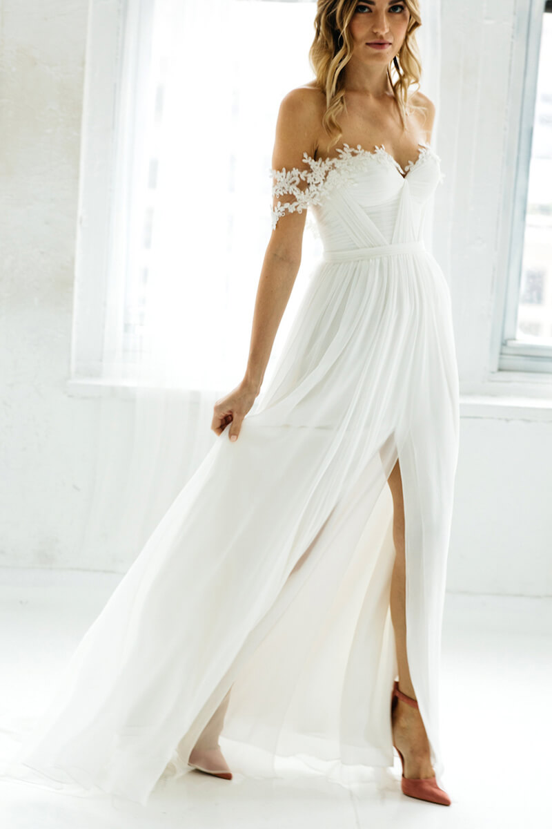 Tulle A Line Hem Wedding Dress