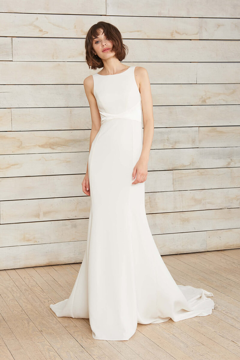 5fa4e92ec8d0 Boatneck Floor-Length Belt Mermaid Wedding Dress | Bycouturier