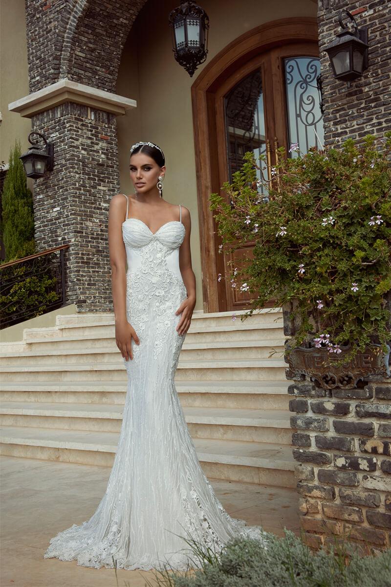 Sweetheart Halter Sheath Wedding Dress | Bycouturier