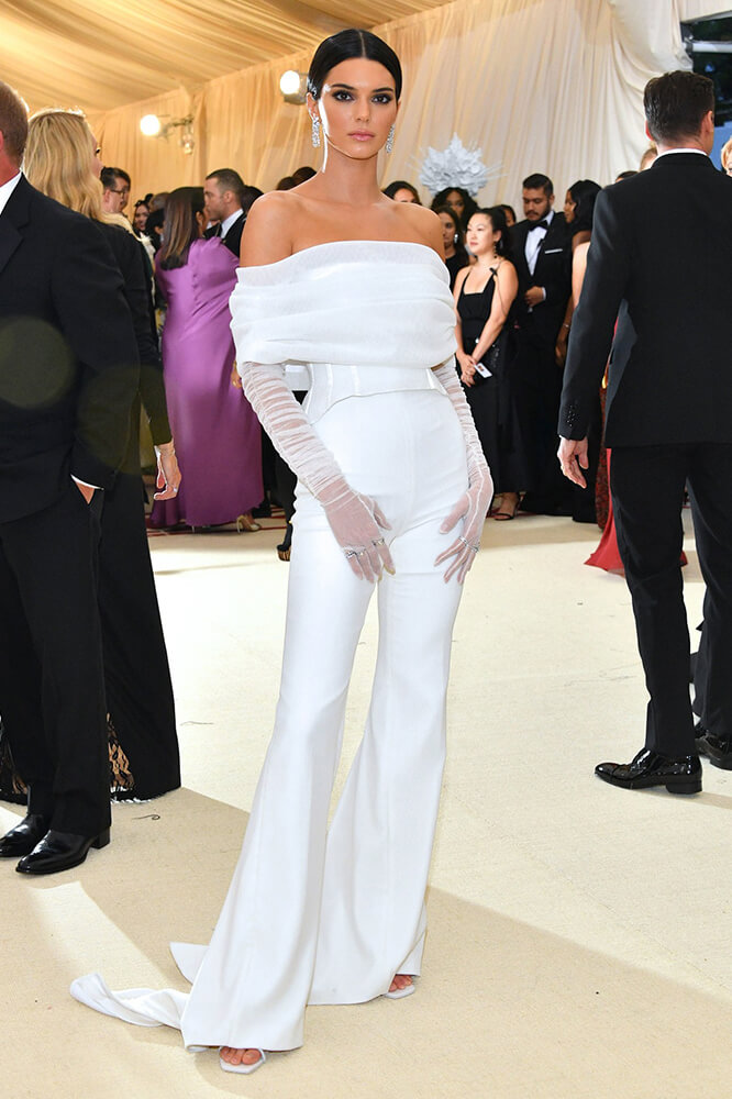 Kendall Jenners Ivory Off White Jumpsuit Meta Gala 2018 Bycouturier
