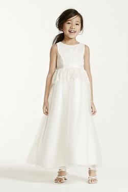 c6594219c6e Tank Ball Gown Flower Girl Dress with Lace Peplum Detail ...