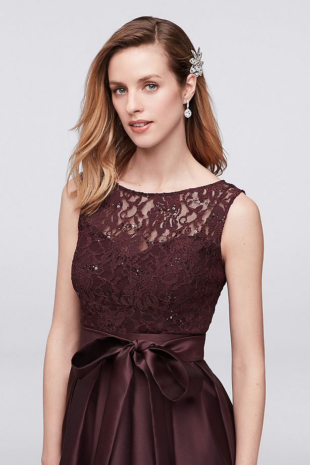 65e9fa79 Lace Sequin Dress with Mikado Skirt | Bycouturier