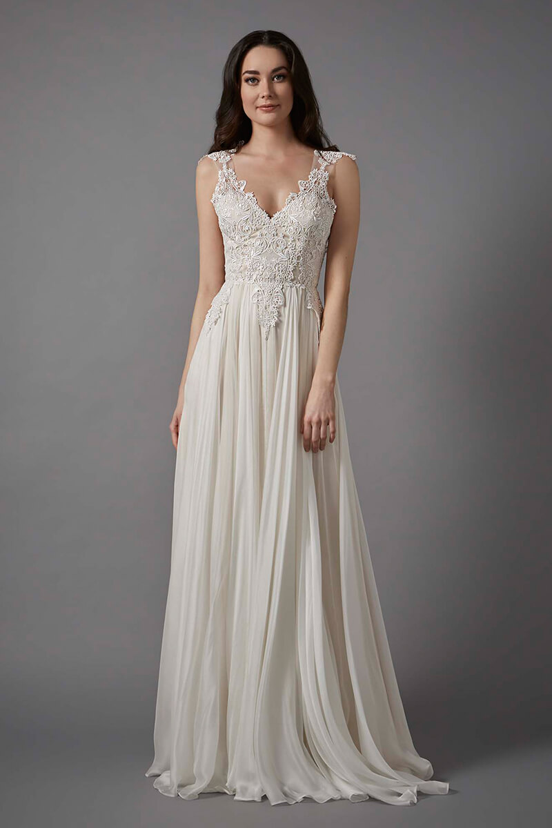 lace bodice chiffon skirt V-neck wedding gown | Bycouturier
