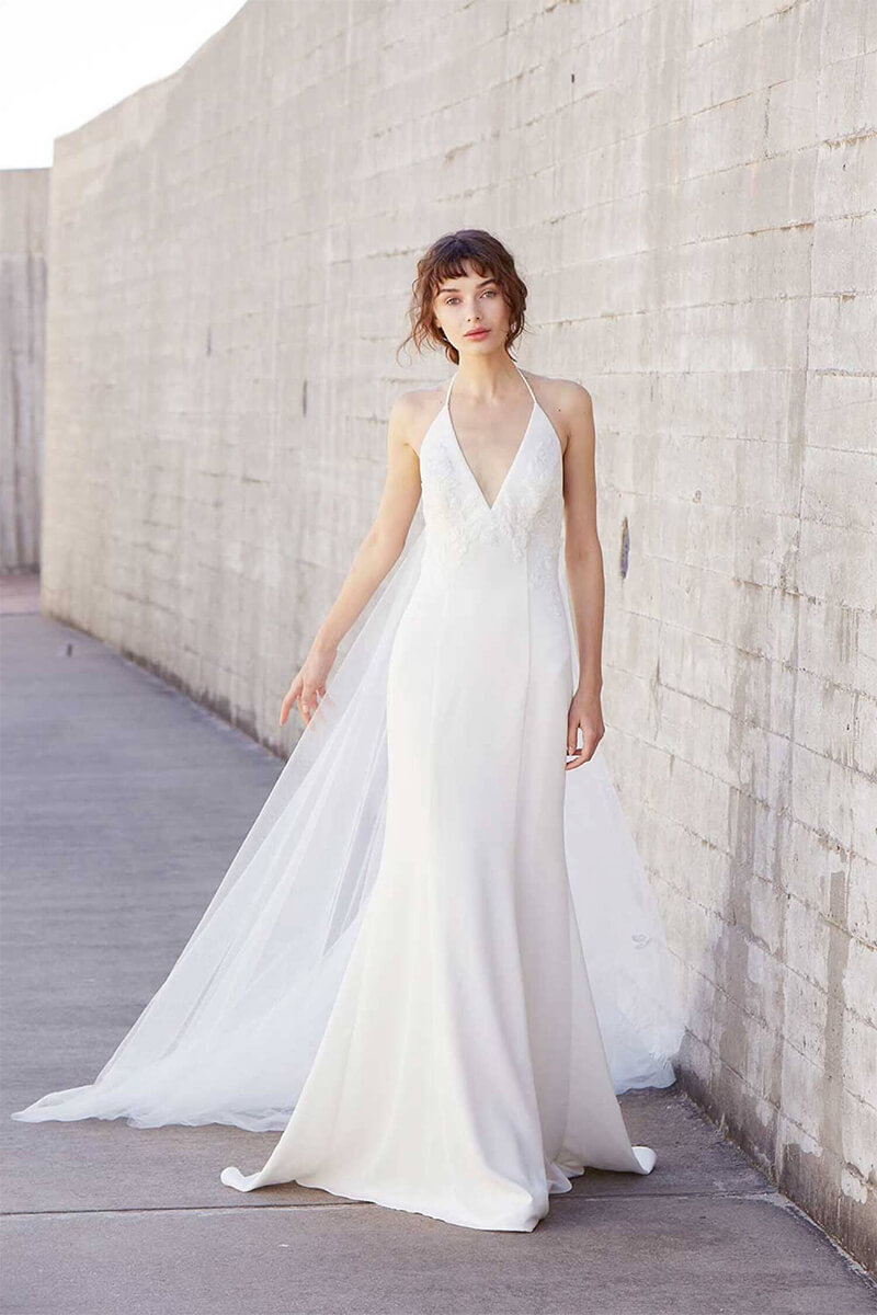 Deep V-Neck low Back Ball Gown Wedding Dress