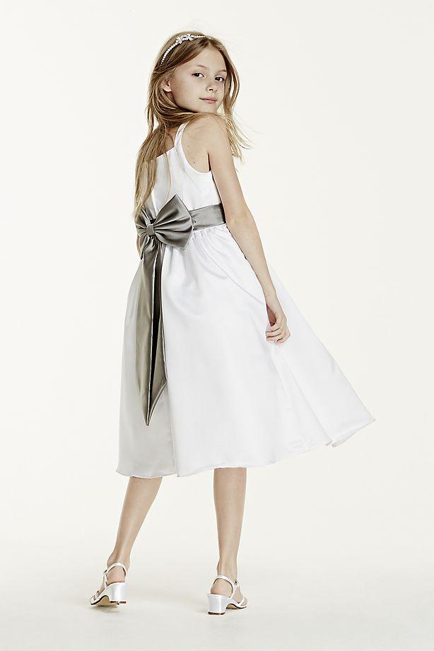 Satin Tea-Length Ball Gown Flower Girl Dress with Spaghetti Straps ...
