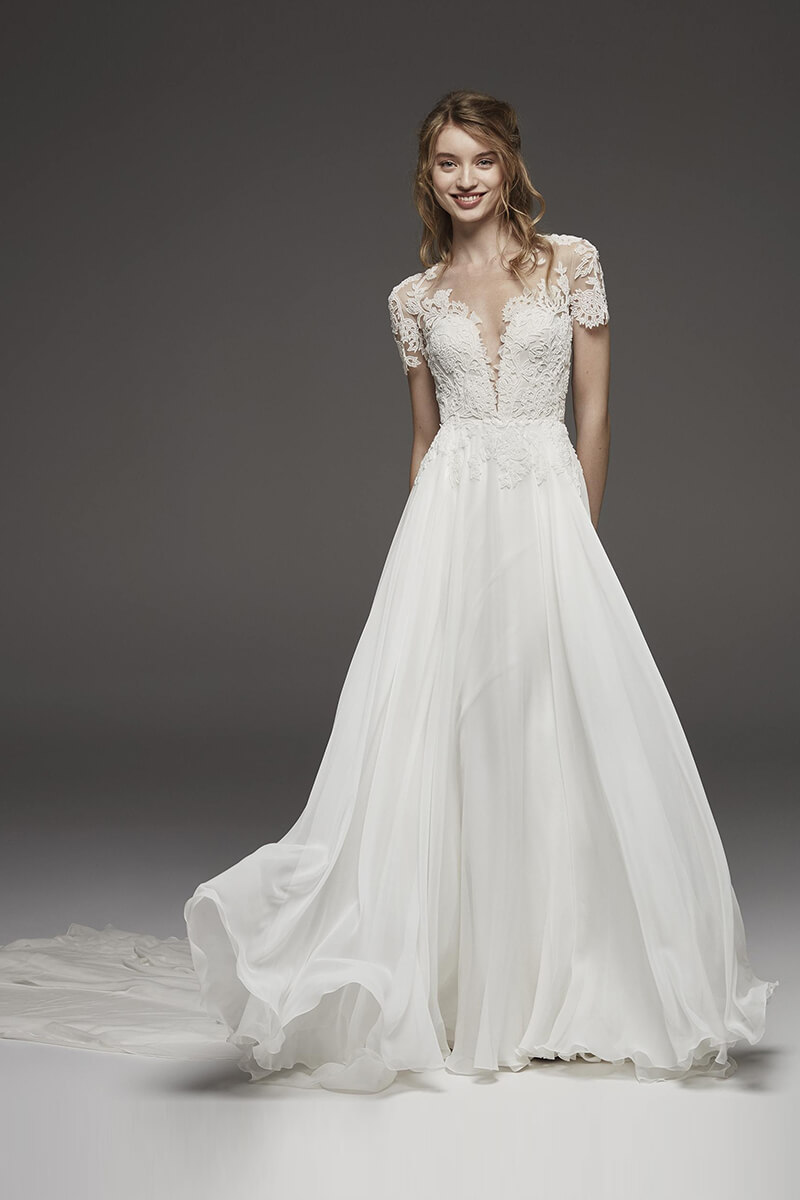 Embroidered v-neck a-line long train bridal gown | Bycouturier