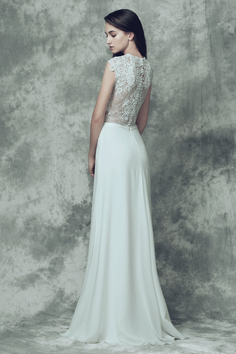 Lace sweetheart neck a line wedding dress | Bycouturier