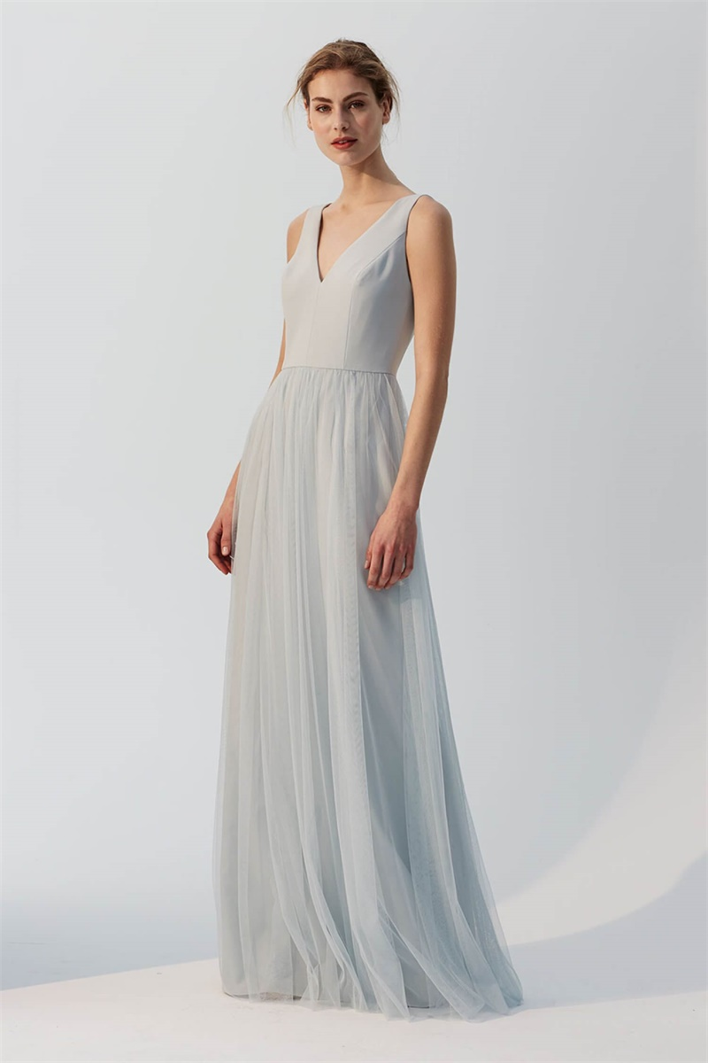 tulle a-line v-neck bridesmaid dress | Bycouturier