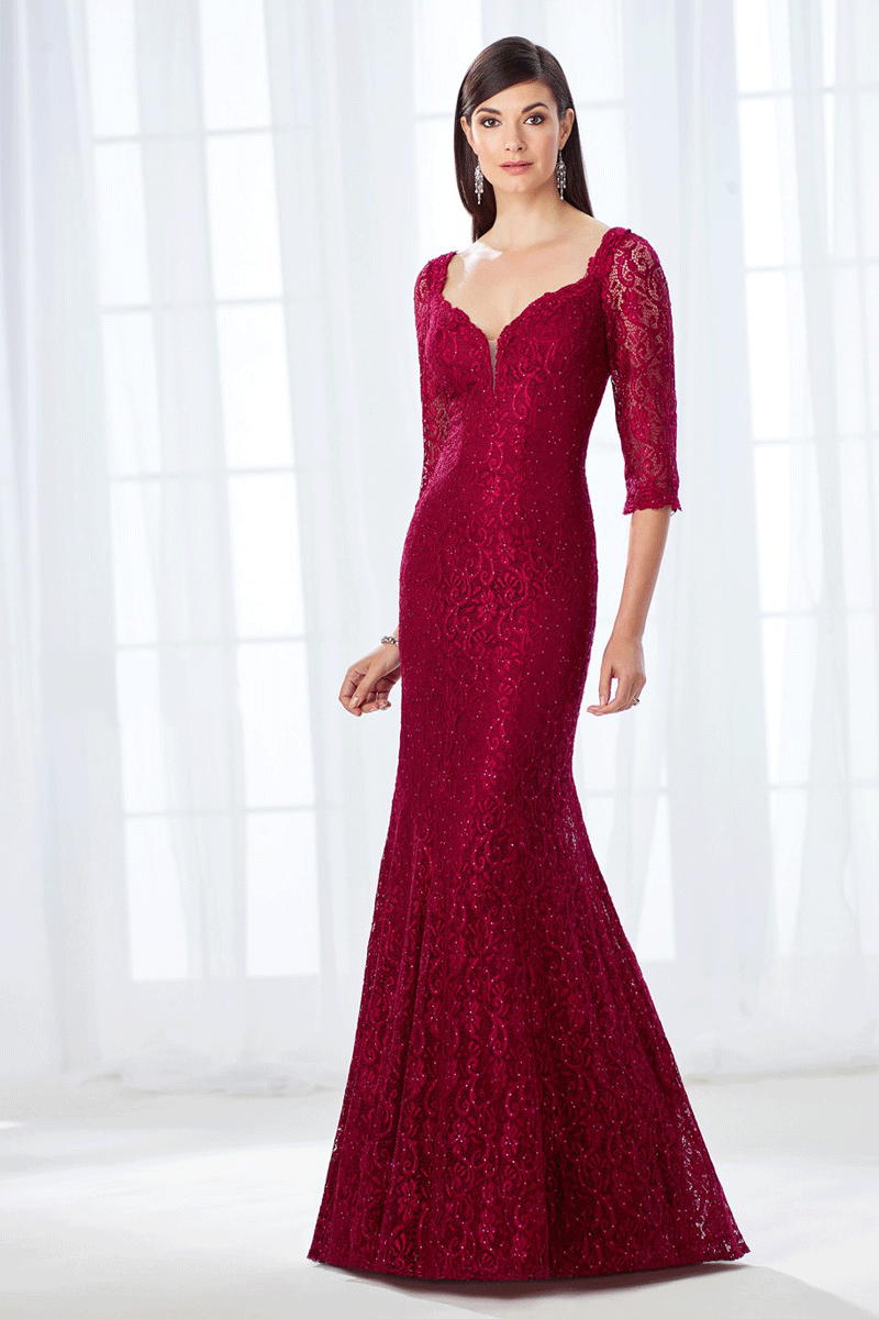 Lace half-sleeved mermaid formal gown | Bycouturier