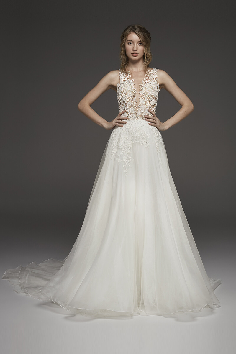 Lace illusion a-line long train wedding dress | Bycouturier