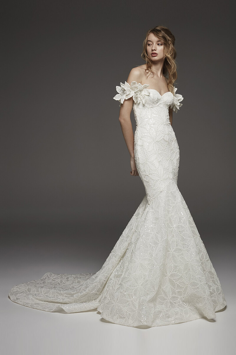 1a7d5bd2a47e Floral shoulder beaded mermaid wedding dress | Bycouturier
