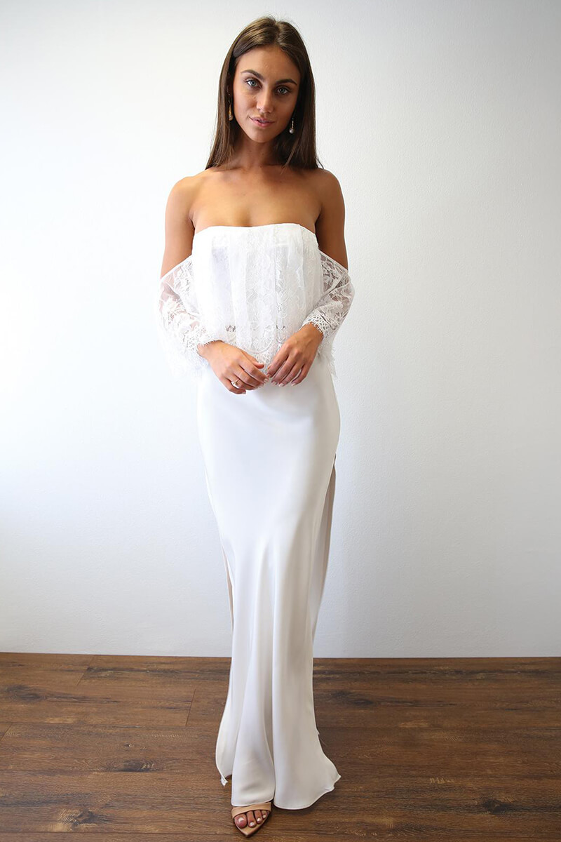 Off The Shoulder Lace Wedding Dress With Single Layer Silk Skirt
