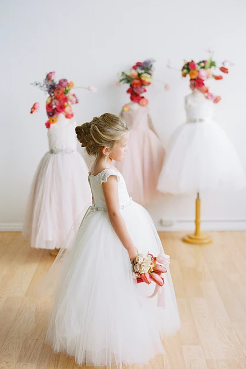 Tulle Lace Cap Sleeved Ball Gown Flower Girl Dress Bycouturier