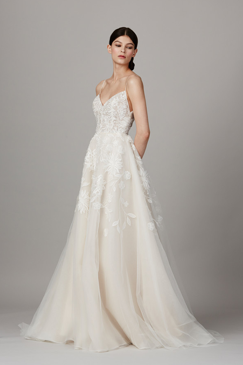 Tulle A-Line Wedding Dress with Plunging V-Neck | Bycouturier