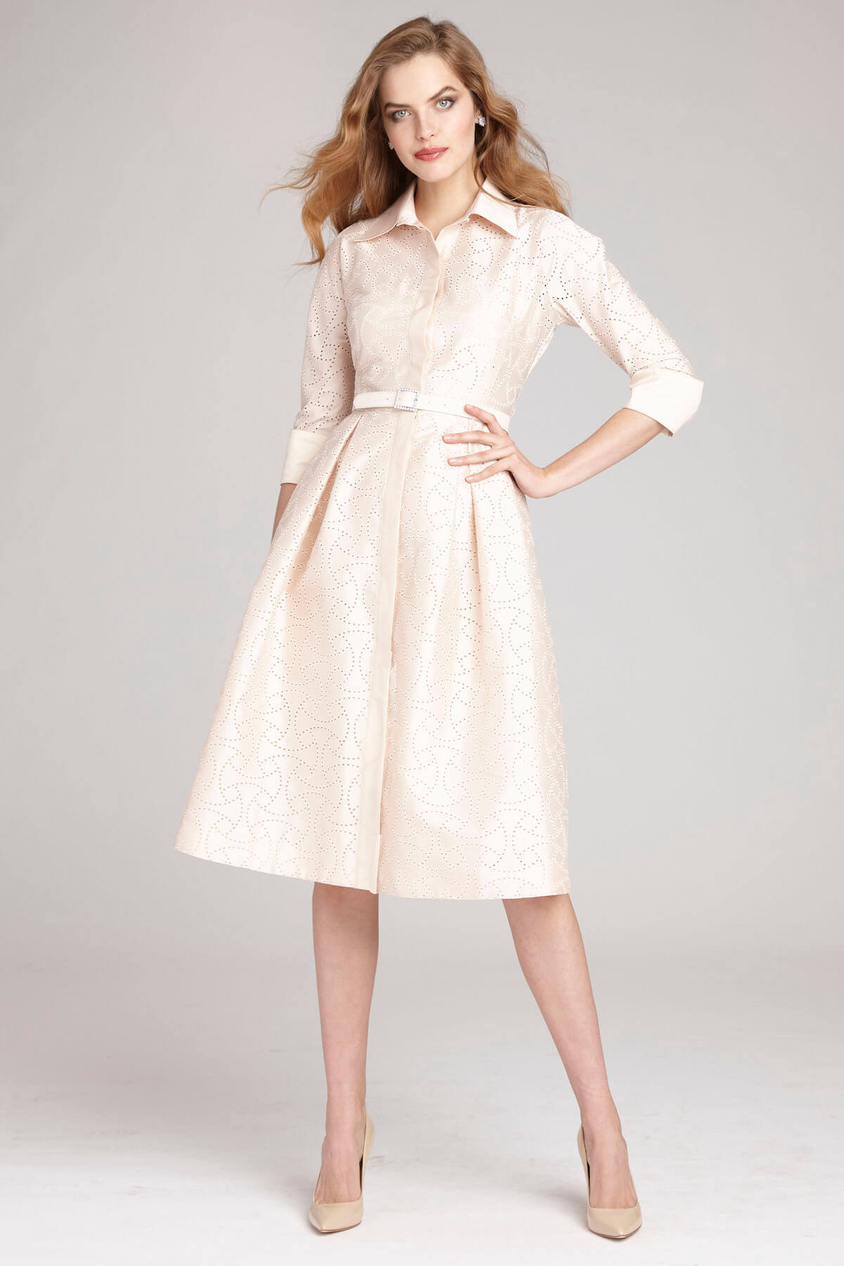 Long Sleeves Short Ball Gown Dress with Belt   Bycouturier
