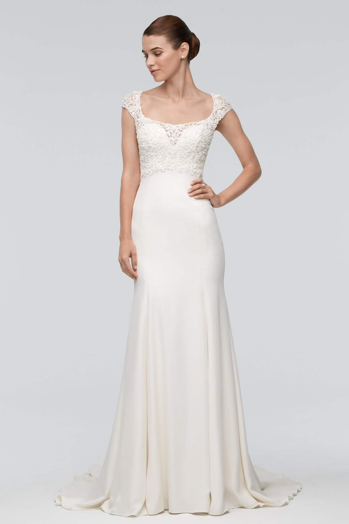 Lace Boatneck Wedding Dress | Bycouturier