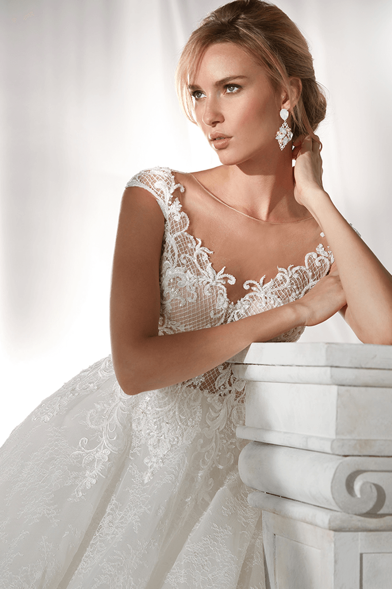 V-Neck Cap Sleeves Ball Gown Wedding Dress | Bycouturier