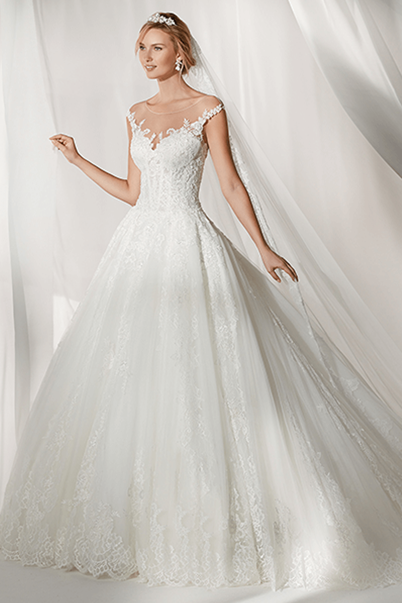 Illusion A-line lace wedding gown | Bycouturier