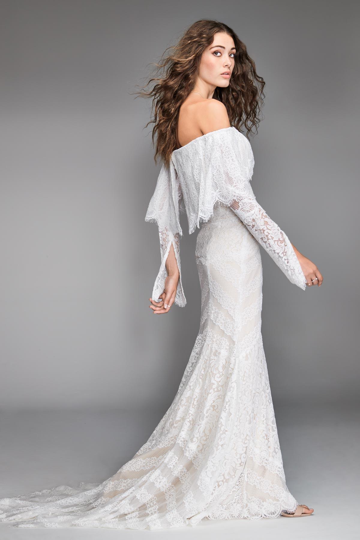 Off-Shoulder Lace Sheath Bridal Dress | Bycouturier