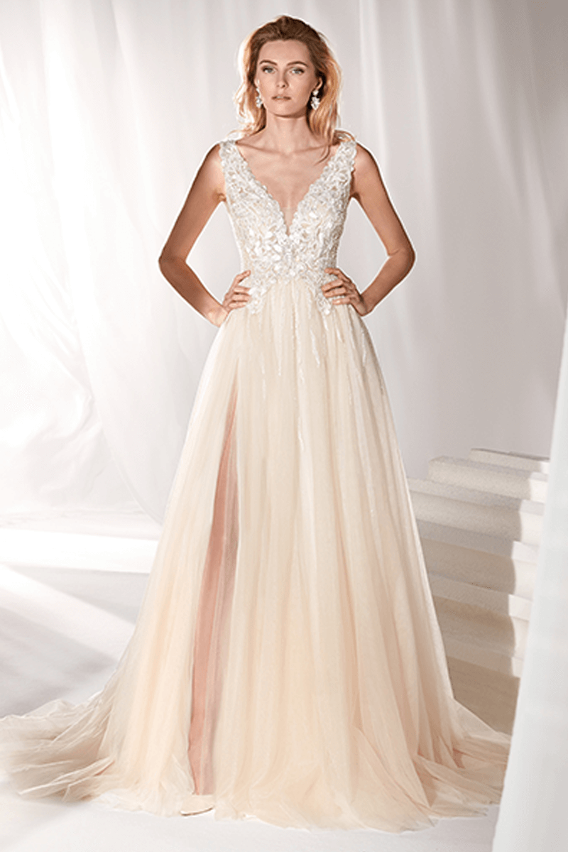 730dd5a33f V-neck lace bodice with champagne A-line tulle skirt wedding gown ...