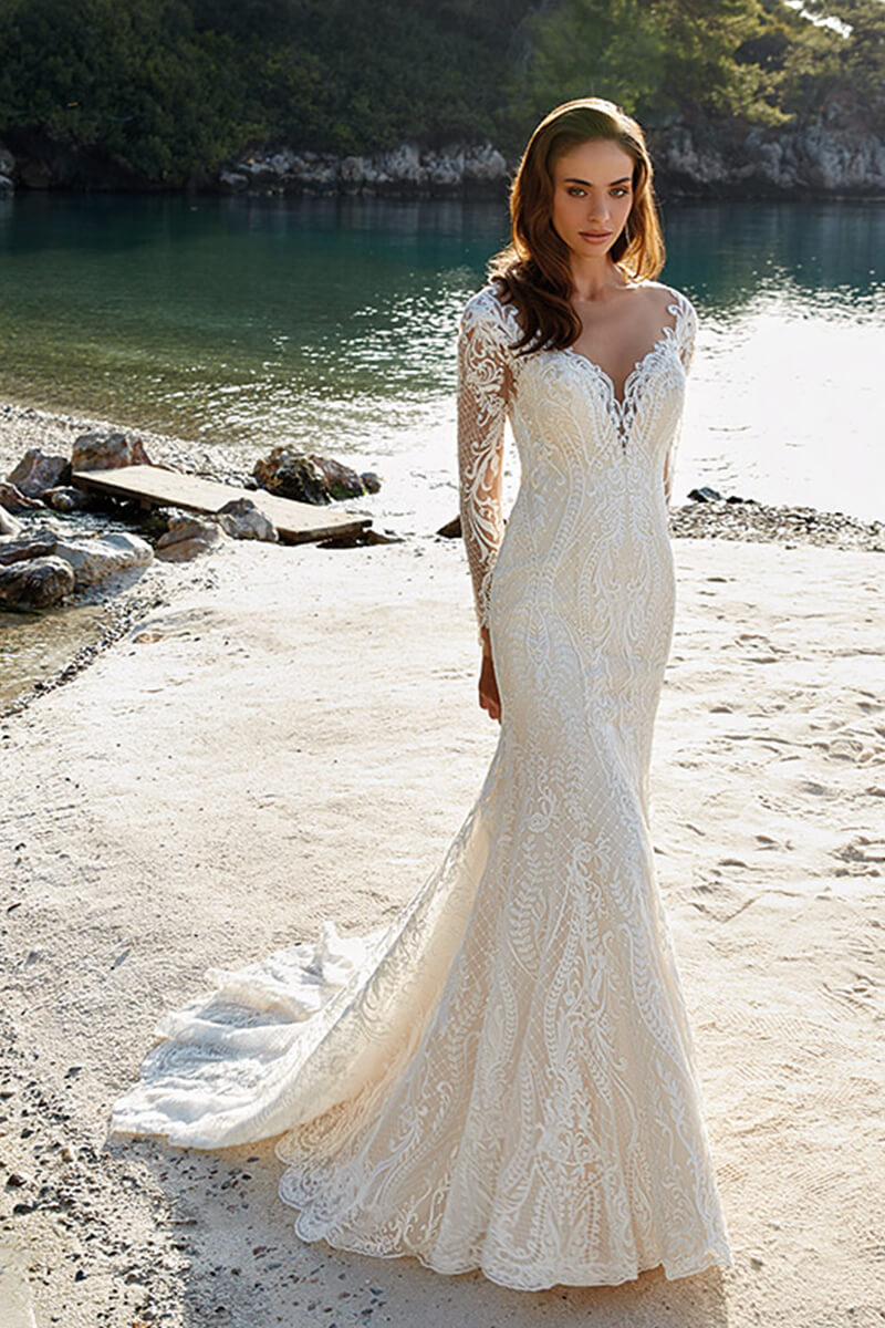 Lace long sleeved mermaid bridal gown | Bycouturier