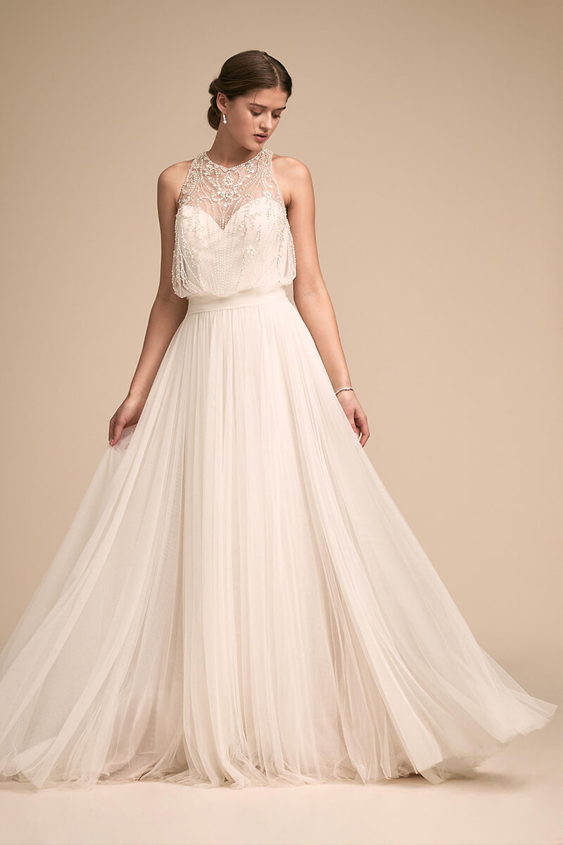Beaded illusion a line tulle bridal gown | Bycouturier