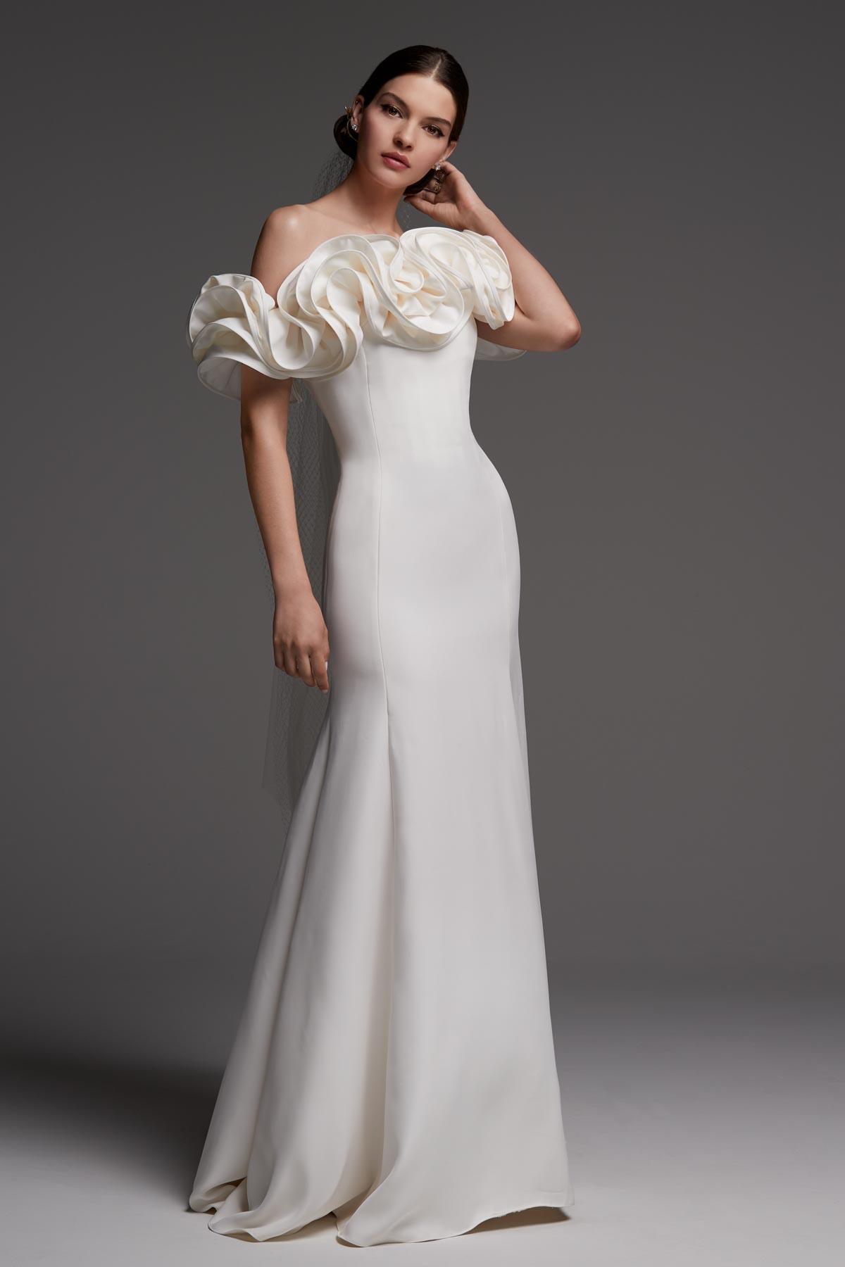 Off-Shoulder Mermaid Wedding Dress   Bycouturier