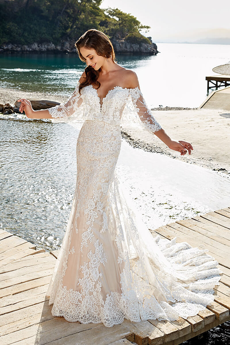 Lace off shoulder mermaid bridal gown | Bycouturier
