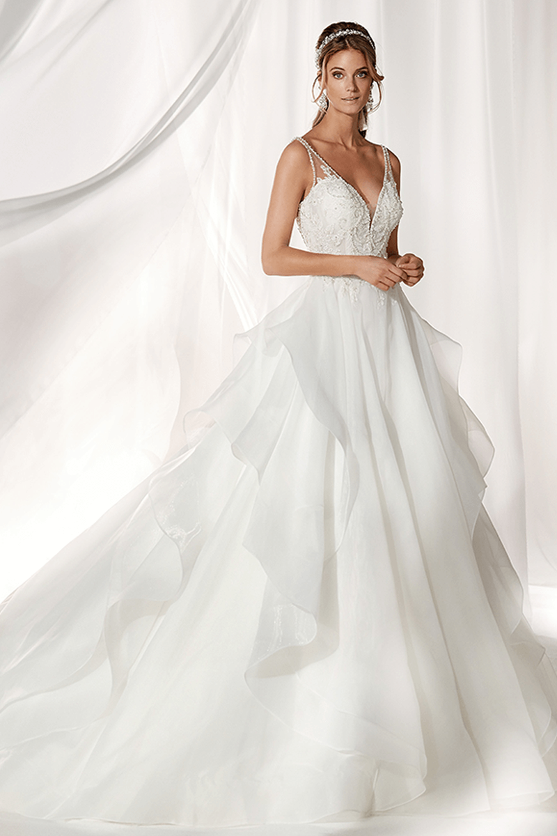 Deep V-Neck Backless Ball Gown Wedding Dress | Bycouturier